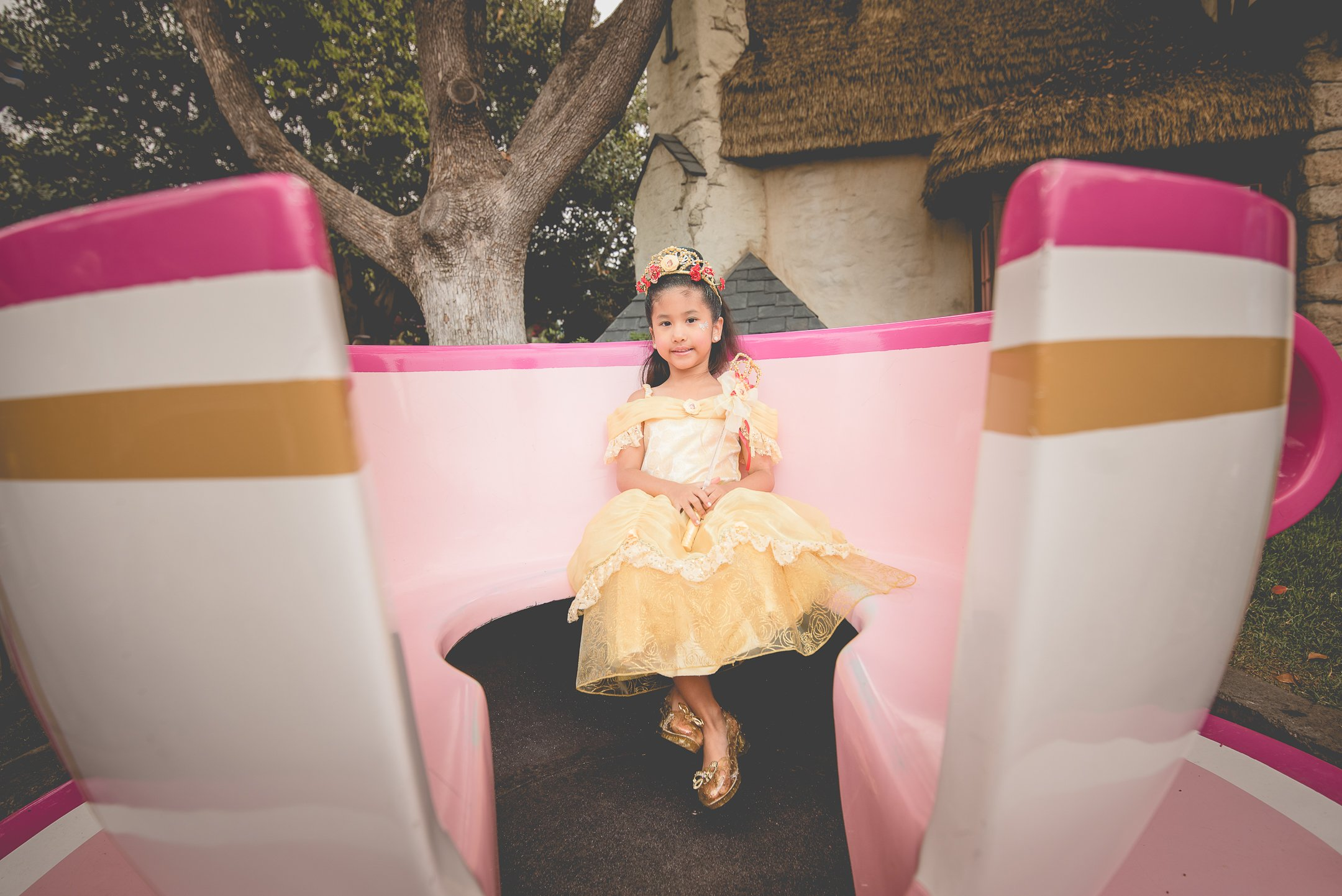 Girl with princess dress at the Tea cup ride