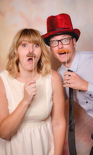 Couple in a photo booth