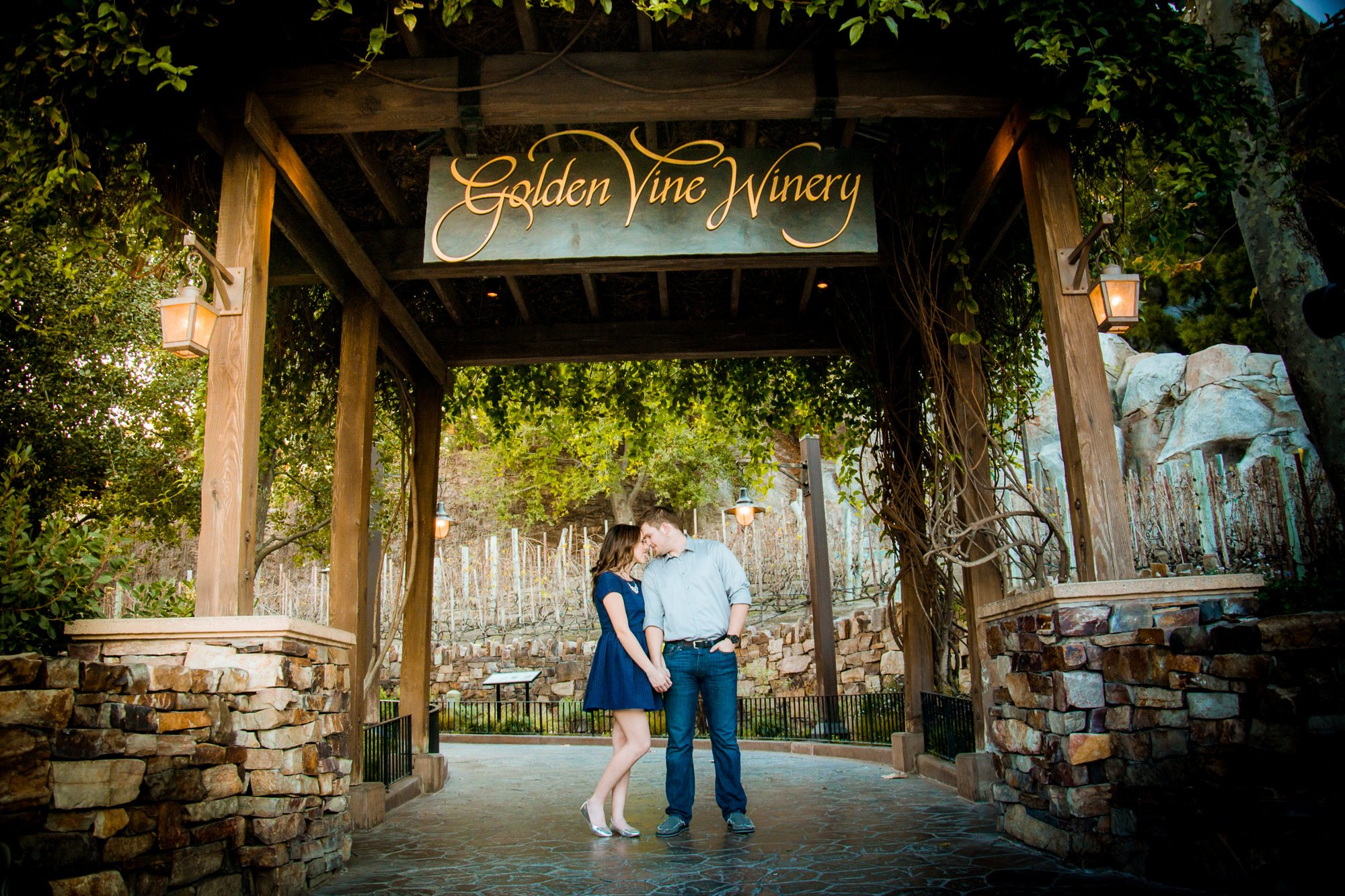 Mehlberg couple in front of Golden Wine Winery