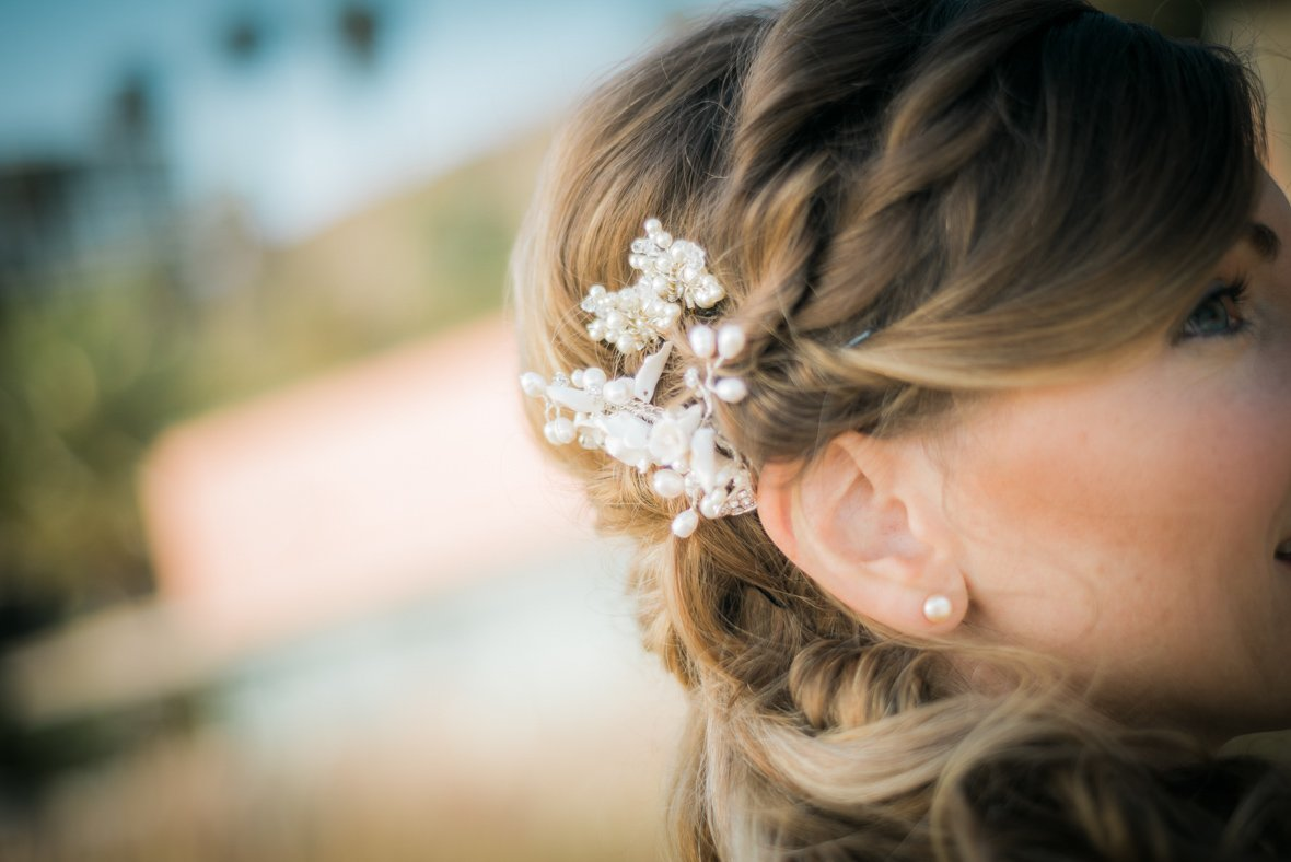 view of bride's ear and hair