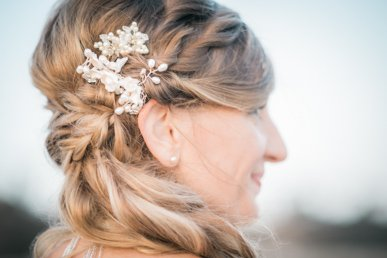 bride's ear and hair