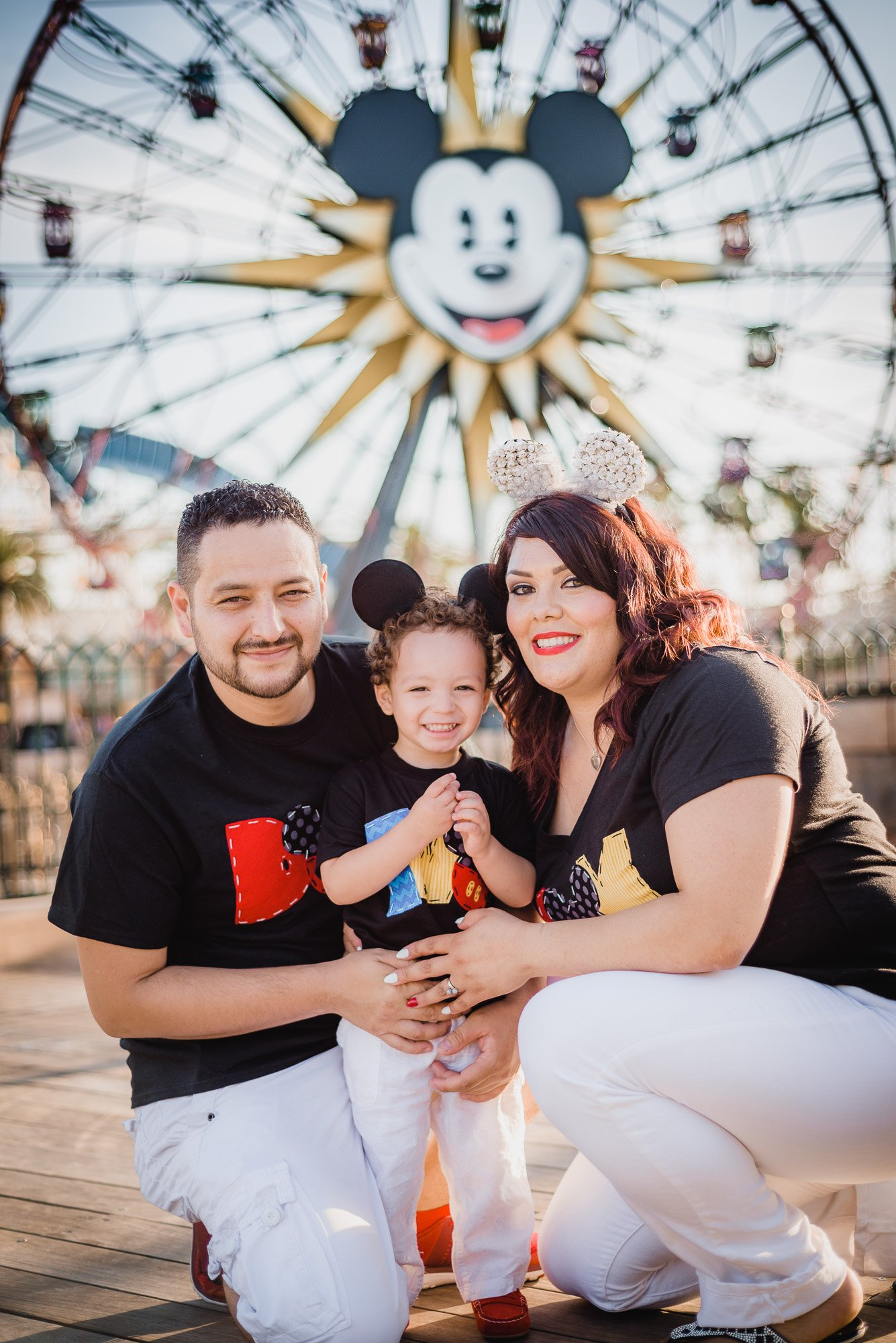 Diaz family posing by a ferris wheel