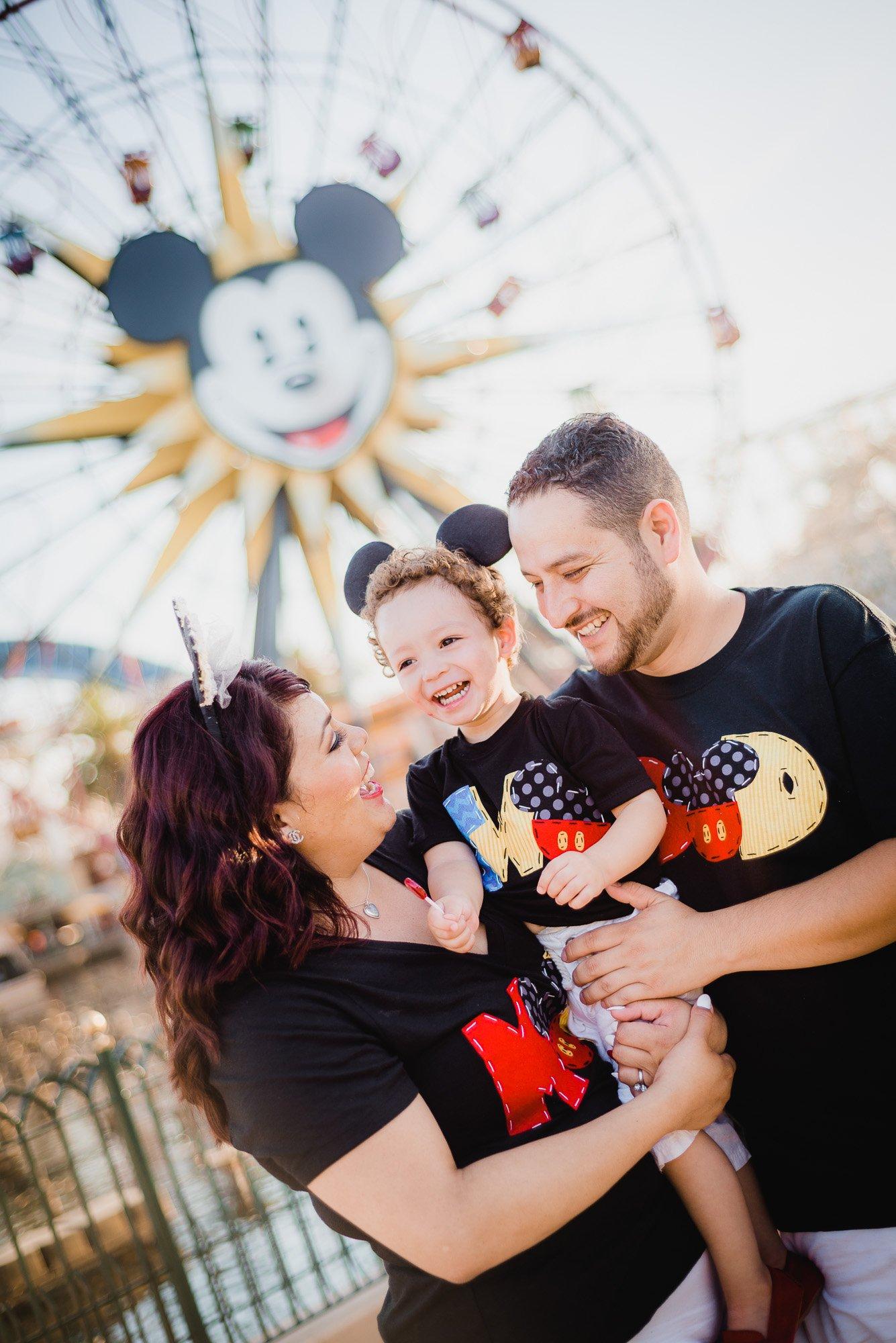 Diaz family posing at Disneyland