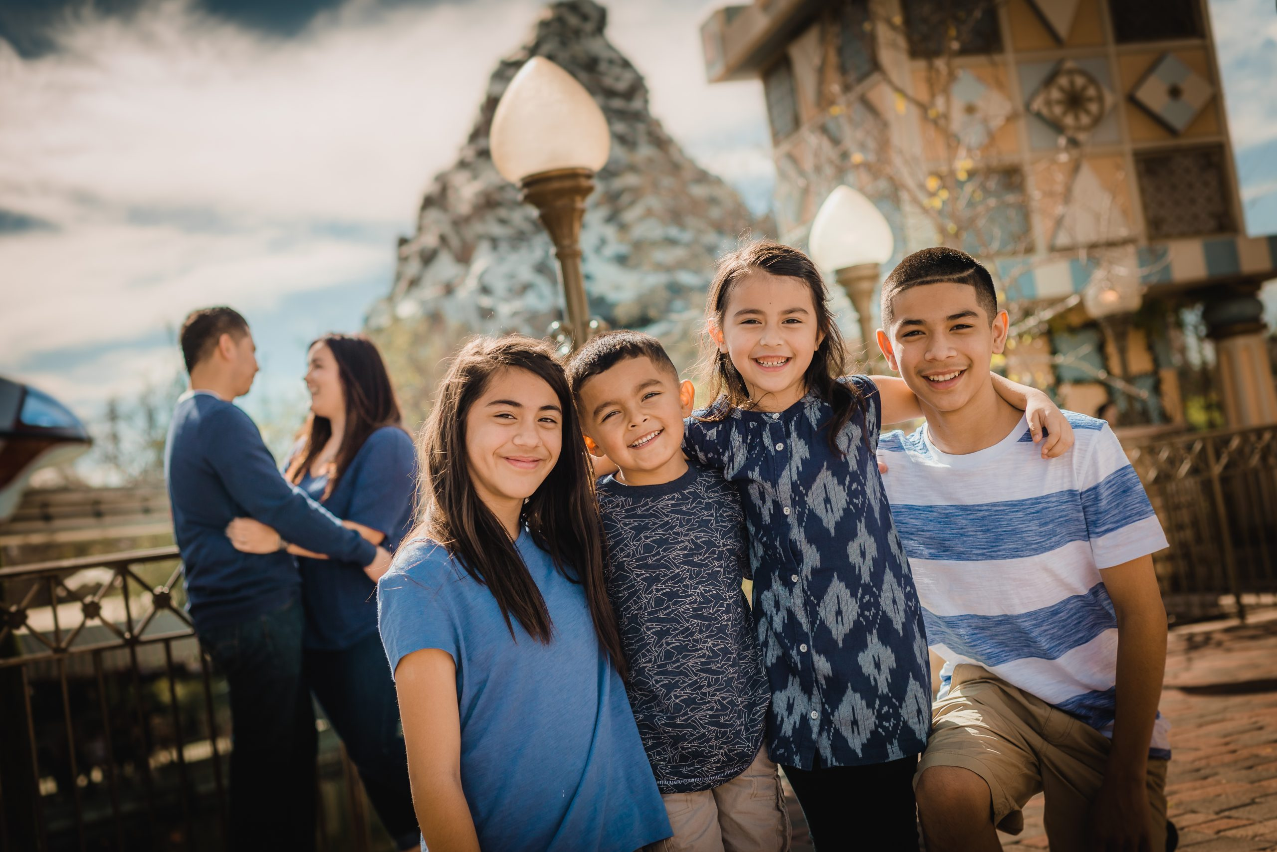 Family posing in front of the Matterhorn