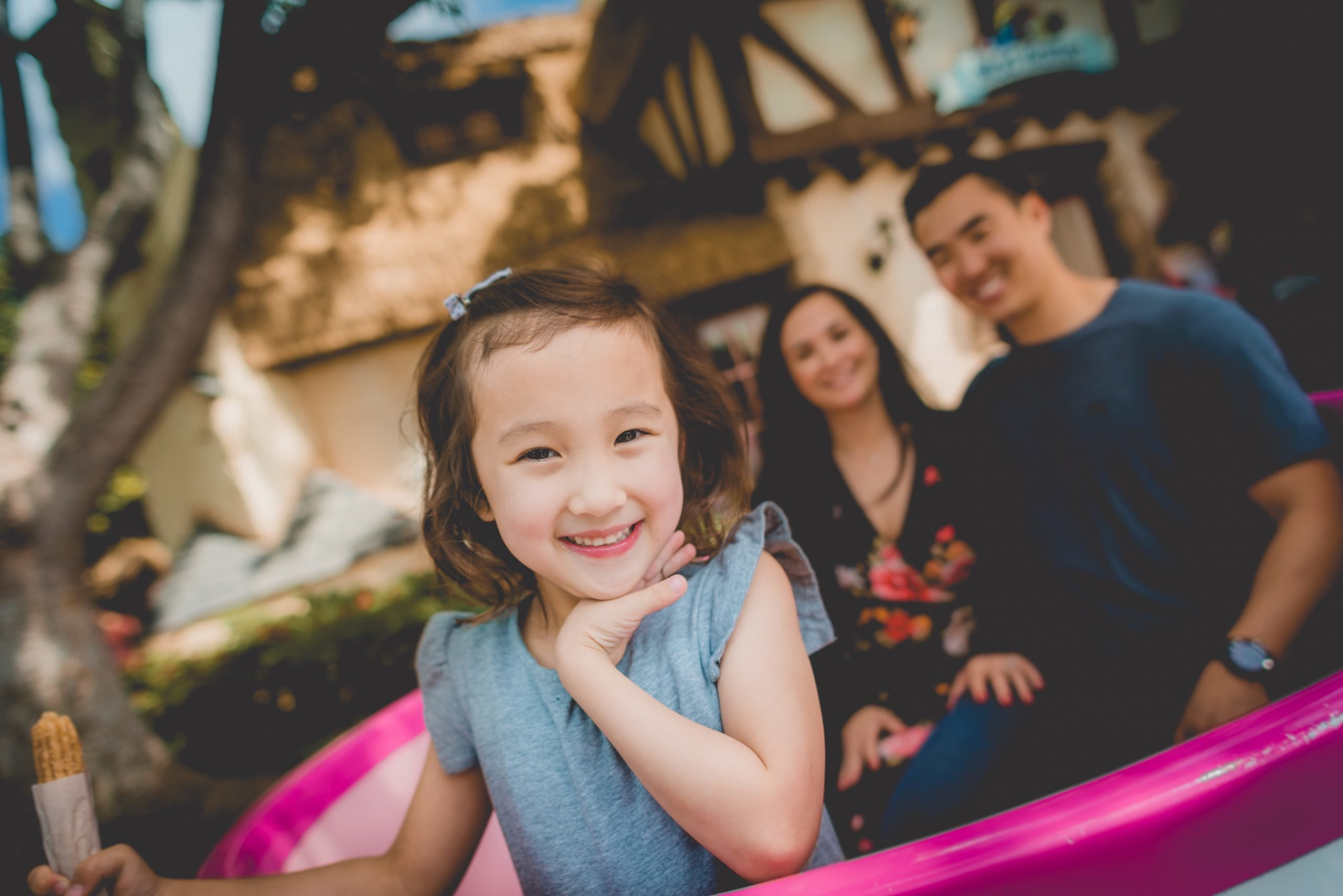 Little Girl close up in the tea cups at Disneyland