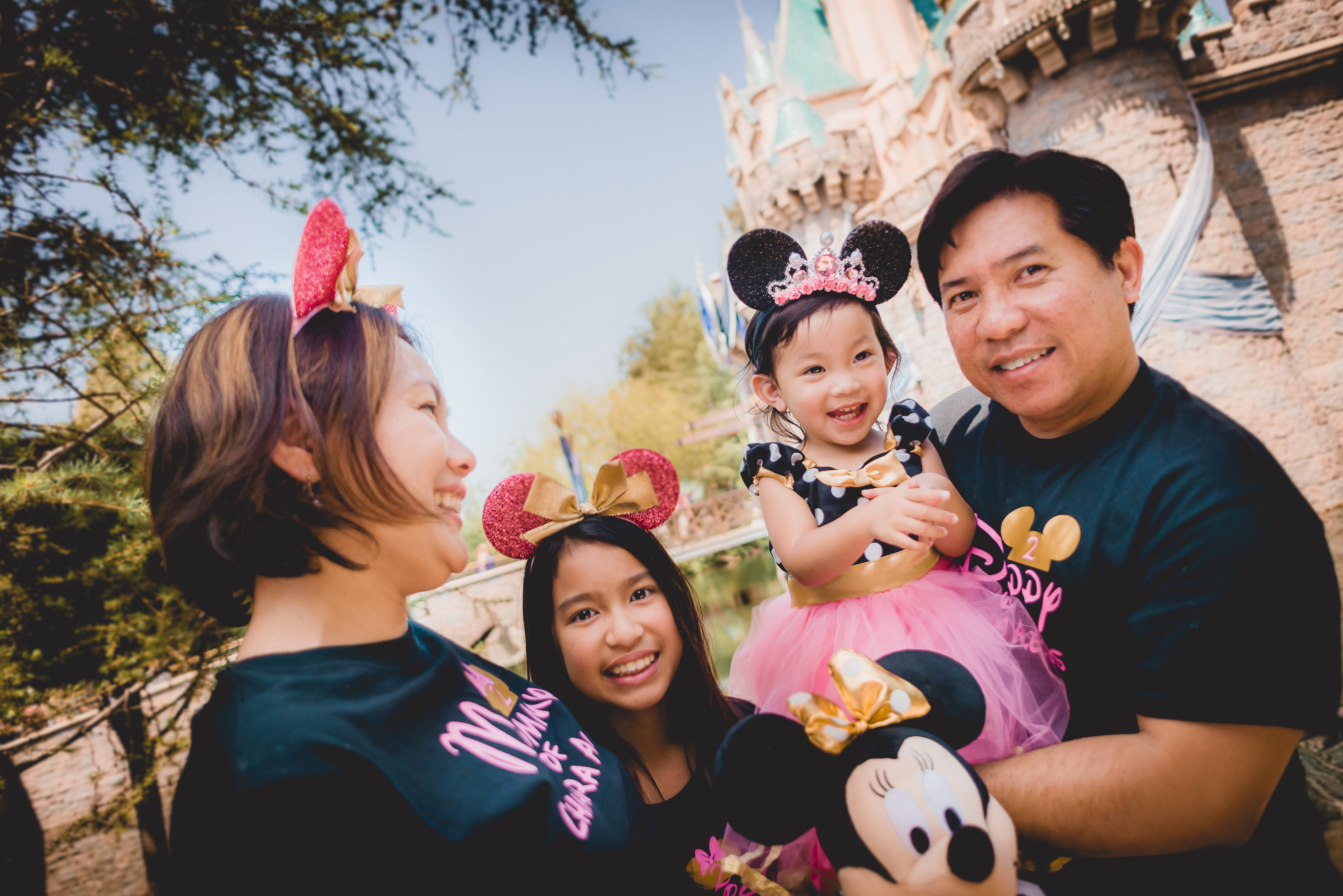Family in front of Sleeping Beauty's castle