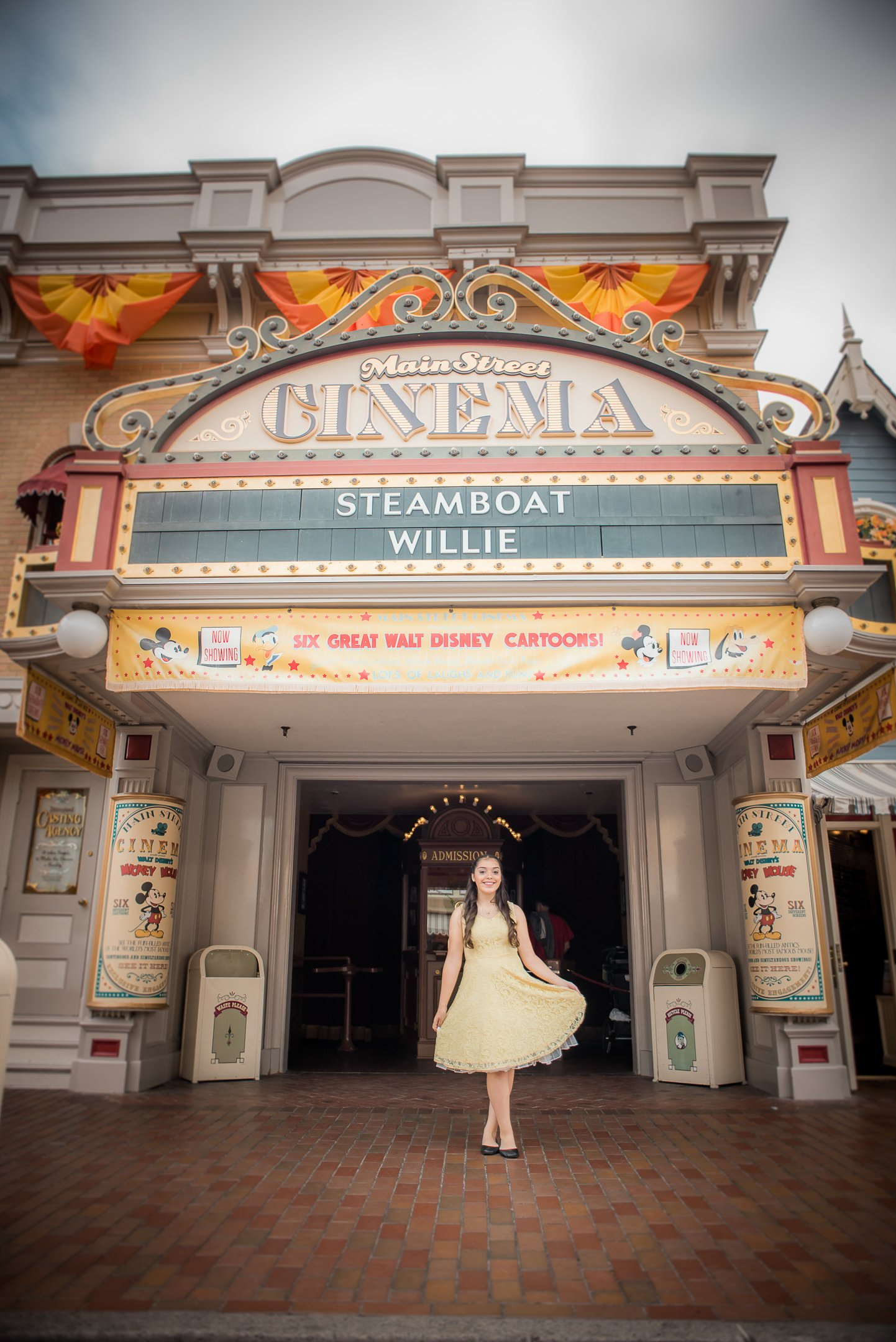 Disneyland Quinceanera photo session - In front of the main street cinema
