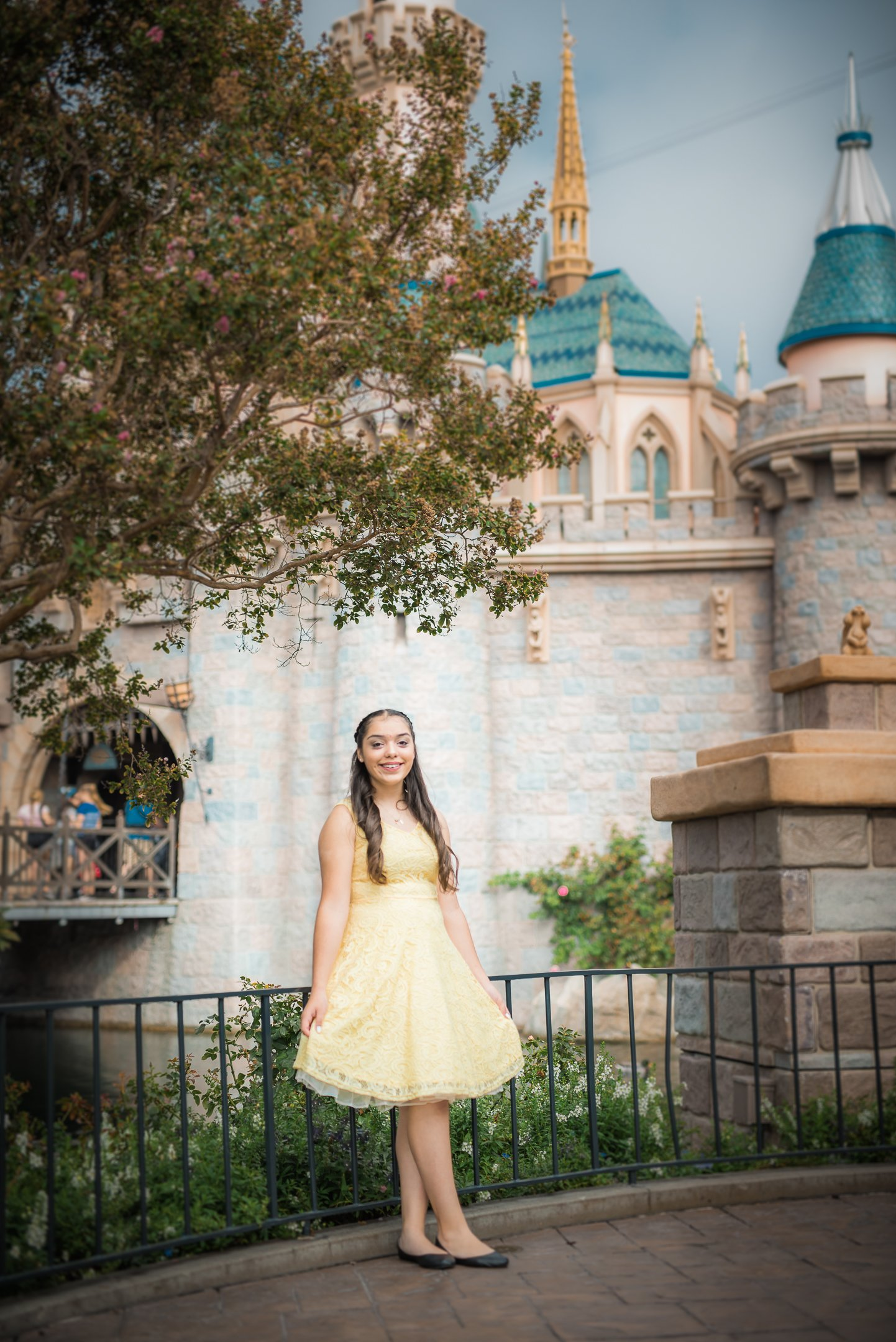 Disneyland Quinceanera photo session - In front of Sleeping Beauty's castle