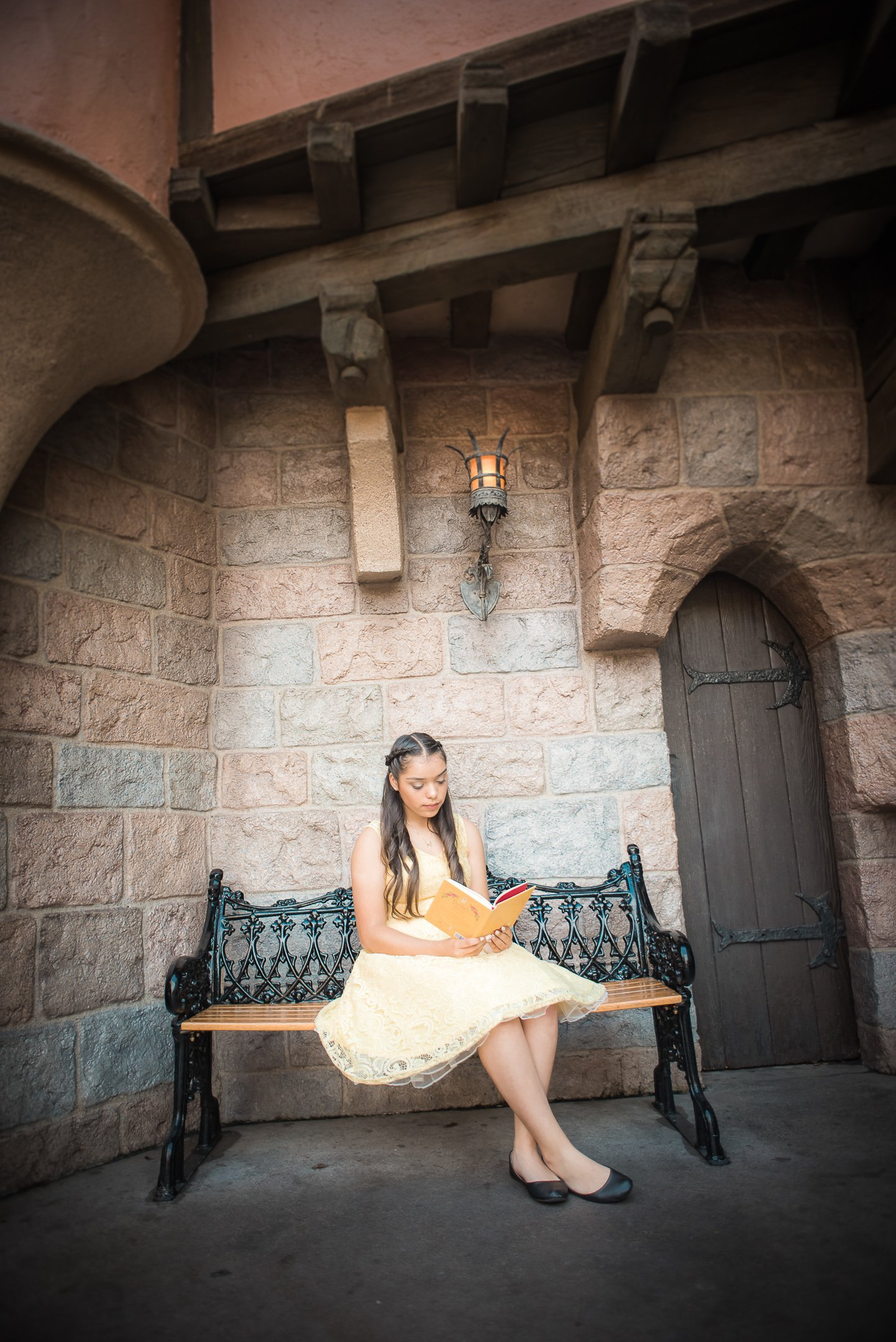 Disneyland Quinceanera photo session - In front of Sleeping Beauty's castle in Disneyland, CA