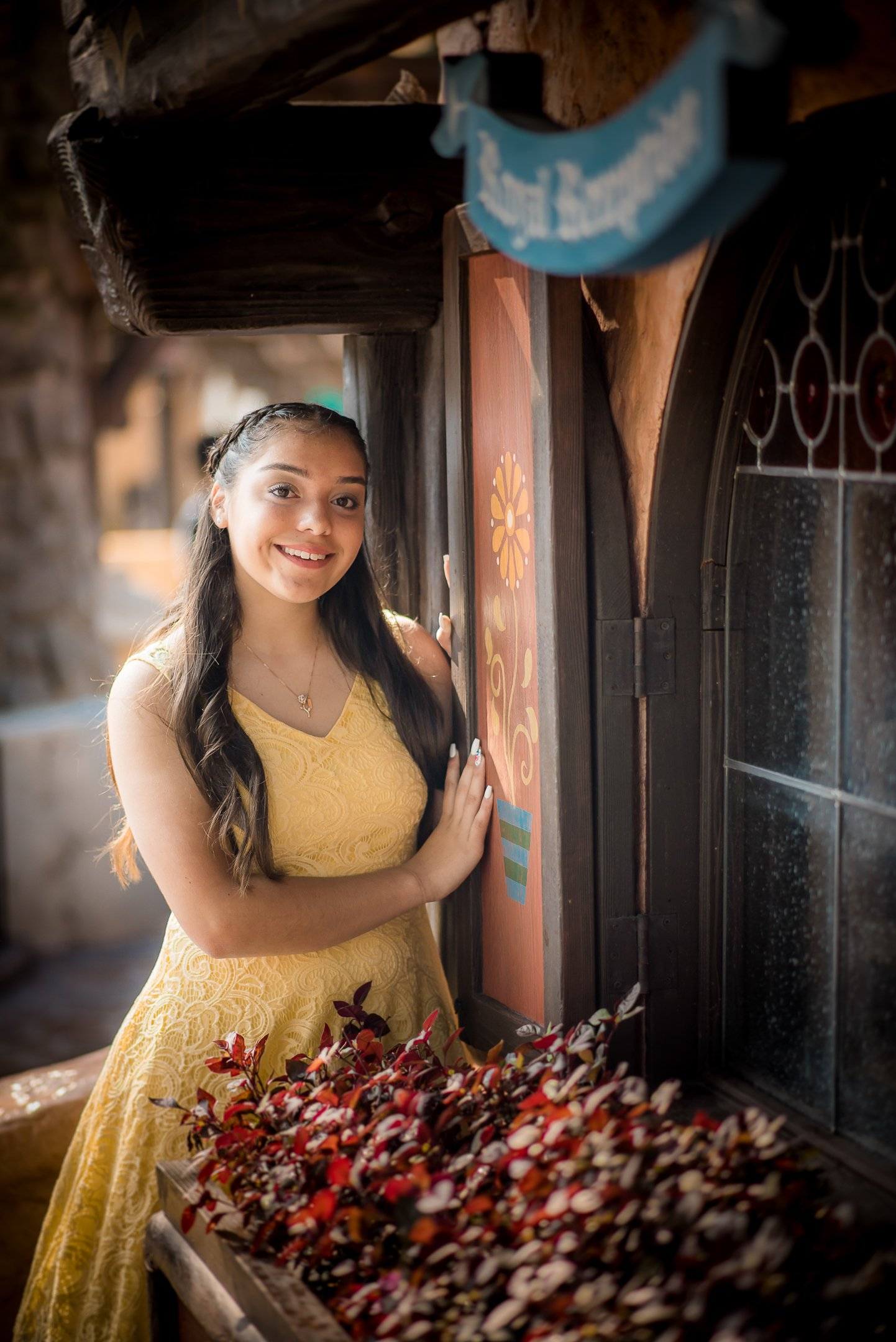Disneyland Quinceanera photo session - By the Red Rose Tavern
