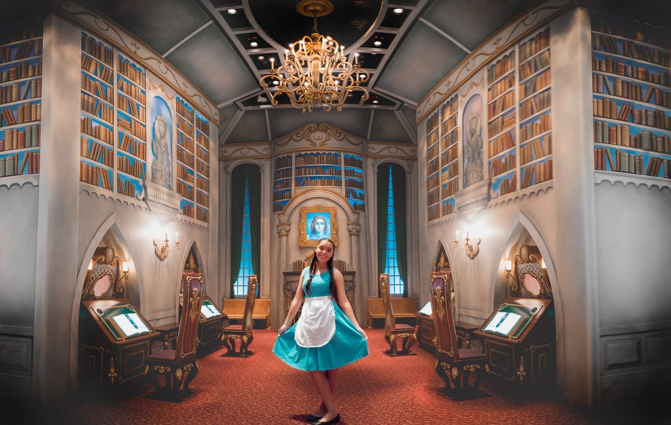 Disneyland Quinceanera photo session - In beast's library in Disney's California Adventure Park in Disneyland, CA