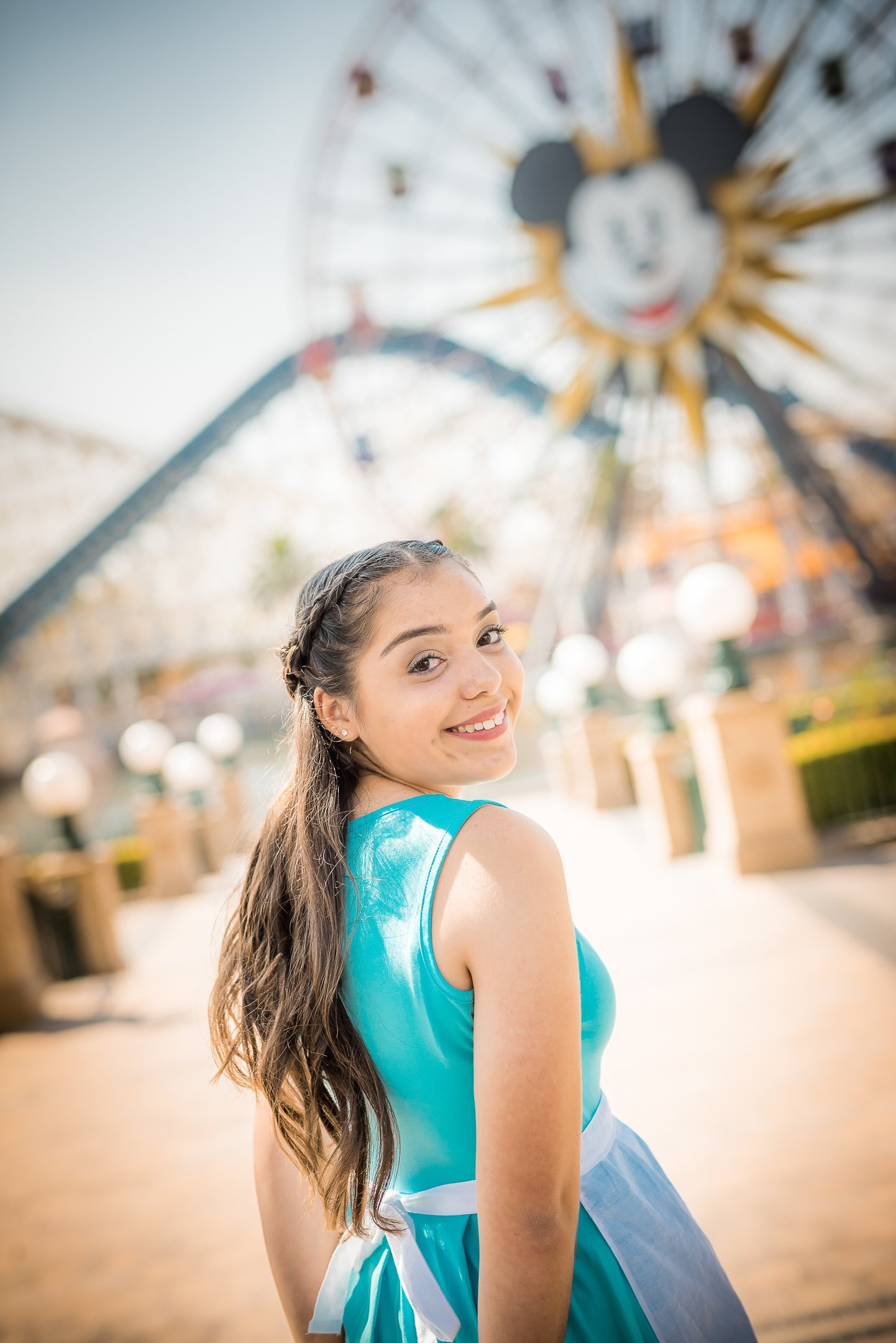 Disneyland Quinceanera photo session - Overlooking the Mickey Wheel at Pixar Pier in Disney's California Adventure Park in Disneyland, CA