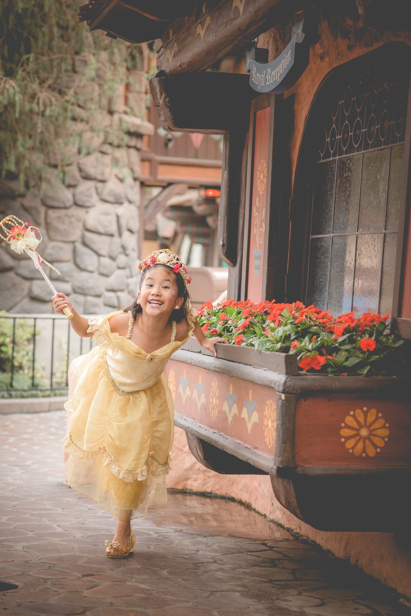 Girl with princess dress playing