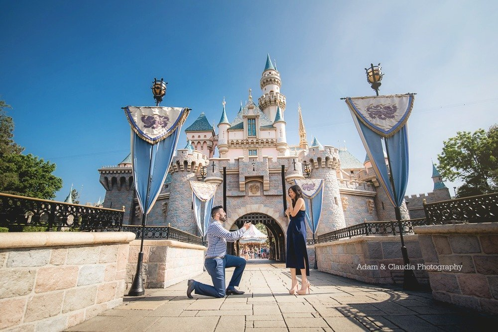 Proposal photo in front of Disney castle