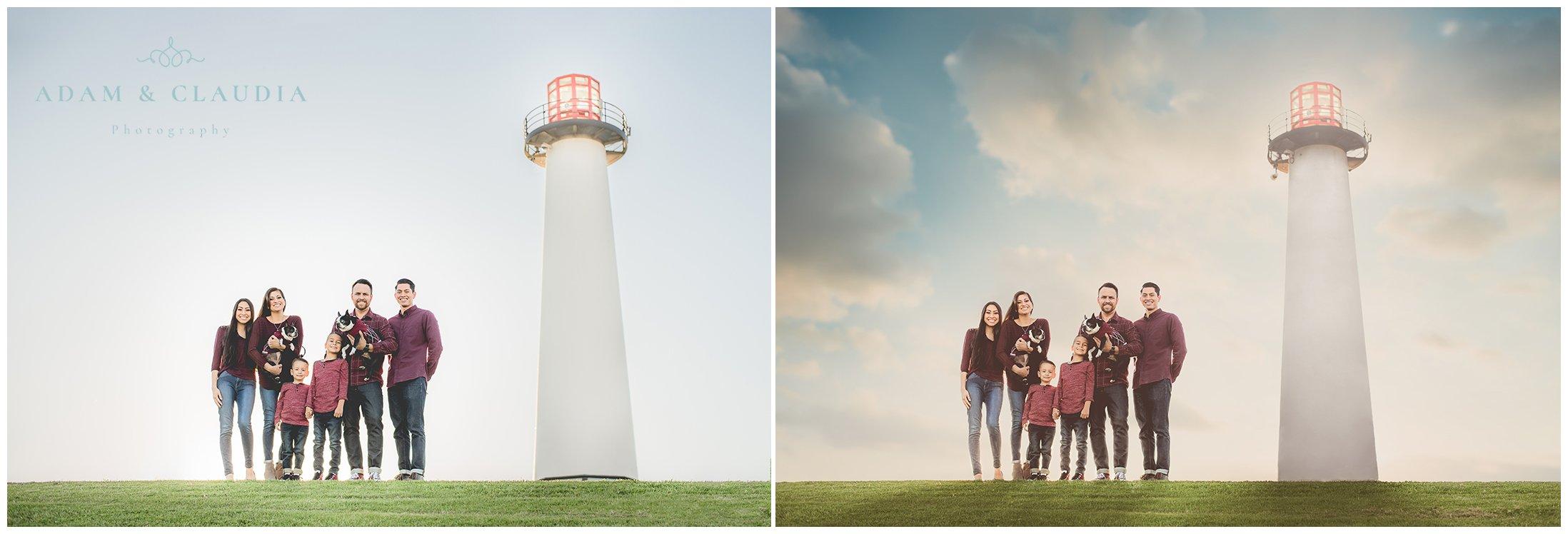 Family Portrait next to lighthouse