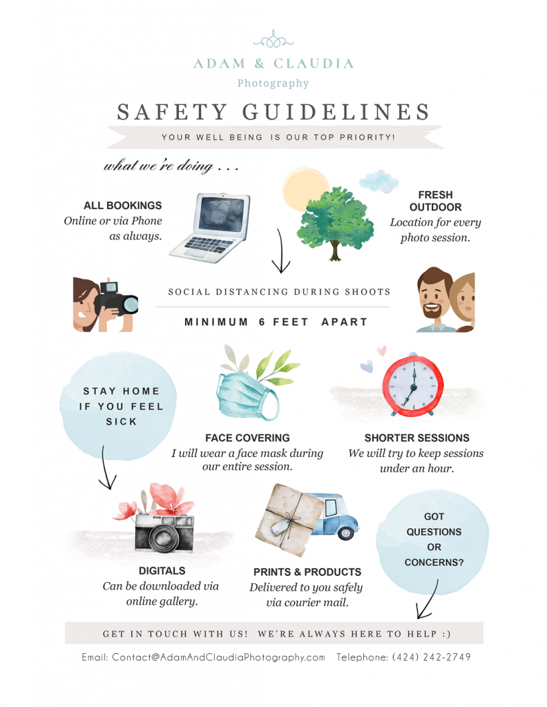 Graphic for Coronavirus Safety Guidelines - Outdoor Photography Sessions